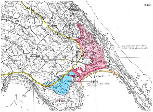 画像:宮古島市 保良地域 土地売却エリア地図 (ホテル開発やゴルフ場建設等)